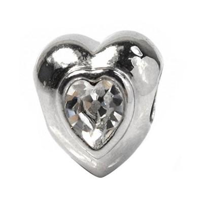 De Buman White Heart Crystal Fashion Bead-fits Charm Bracelets並行輸入品 送料無料