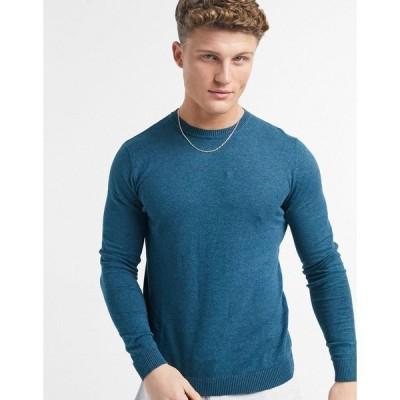エイソス メンズ ニット&セーター アウター ASOS DESIGN cotton sweater in teal Teal