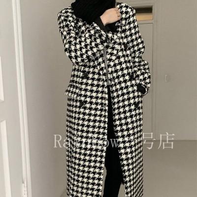ロングコート レディース 千鳥格子 千鳥格子柄 コート ロング チェック柄 チェック ゆったり 黒 白 韓国ファッション