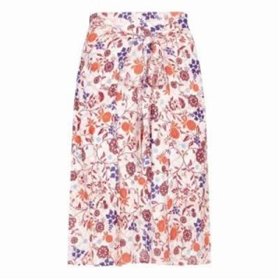ユミ ひざ丈スカート Swirled Flower Print Skirt ivory