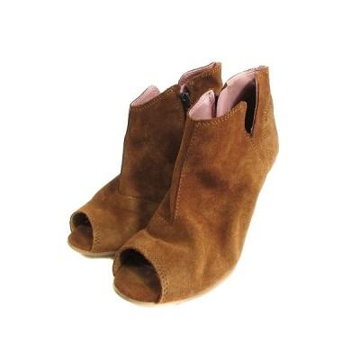 【中古】ジュジュブ jujube ブーツ オープントゥ ウェッジソール ハイヒール フェイクスエード 36 茶色 ブラウン /AAM4 レディース 【ベクトル 古着】