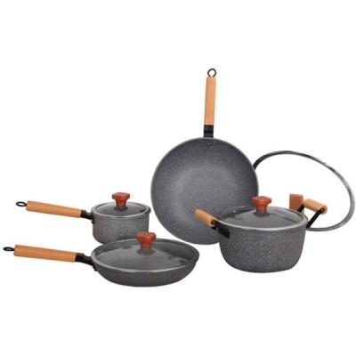 調理器具セット、4ピース大理石コーティングポットセット、ミルクパン、スープパン、中華鍋、フライパン、ガラス蓋付き