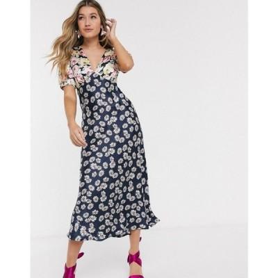 エイソス ASOS DESIGN レディース ワンピース ミドル丈 ワンピース・ドレス satin midi tea dress in mixed floral