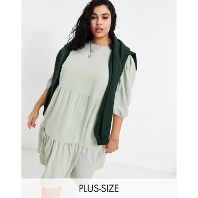 オンリーカーブ Only Curve レディース ワンピース ミドル丈 ワンピース・ドレス midi smock dress with tiering in sage green セージグリーン