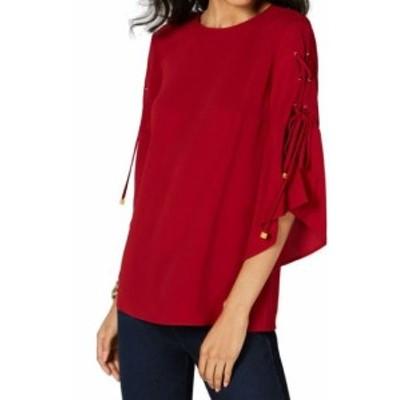 Michael Kors マイケルコルス ファッション トップス MICHAEL Michael Kors NEW Red Womens Size P Petite Lace-Sleeve Top