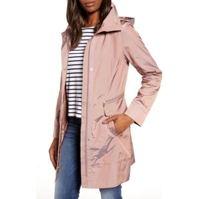 コールハーン COLE HAAN SIGNATURE レディース レインコート アウター Back Bow Packable Hooded Raincoat Mauve