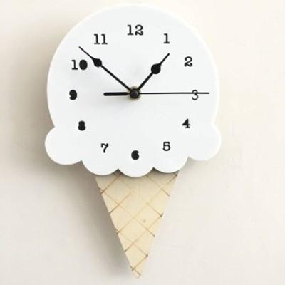 ウォールクロック クロック 時計 壁 掛時計 アイスクリーム アイス ダイカット 木製 子供部屋 インテリア ギフト 北欧