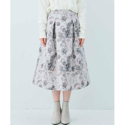 スカート IEDIT ふんわりシルエットの華やぎタックジャカードスカート