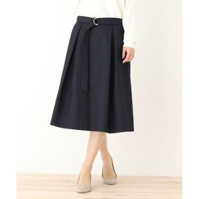 SHOO・LA・RUE/シューラルー 前タック共ベルト付スカート ネイビー(093) 02(M)