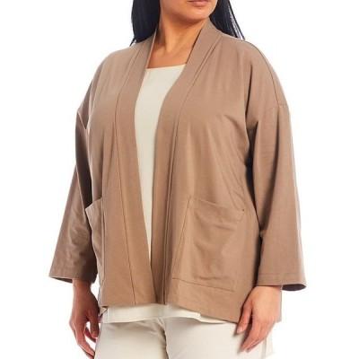 エイリーンフィッシャー レディース ジャケット・ブルゾン アウター Plus Size High Collar Organic Cotton Stretch Jersey Kimono Jacket