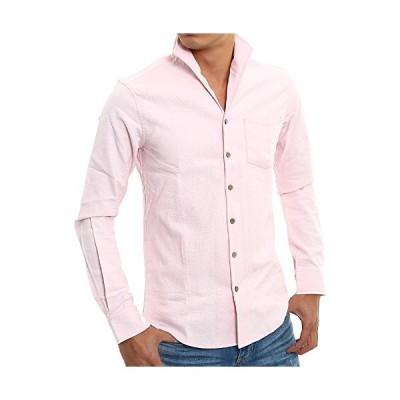 インプローブス 長袖 七分袖 シャツ 綿麻 ストレッチ イタリアンカラー 木製風ボタン パナマシャツ メンズ 長袖 A ピンク S サイズ