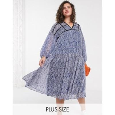 リバーアイランド レディース ワンピース トップス River Island Plus tile print smock mini dress in blue Blue print