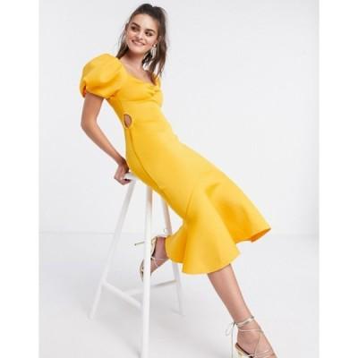 エイソス レディース ワンピース トップス ASOS DESIGN puff sleeve side cut out midi dress in marigold