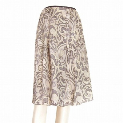 新品同様/ポールスチュアート Paul Stuart 絹シルク100%スカート 小さい 表記4号(S相当) 白 グレー ペイズリー柄 春夏 ボトムス レディース