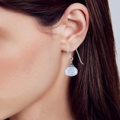 Blue Quartz Gemstone Sterling Silver Dangle Drop Blue Earrings