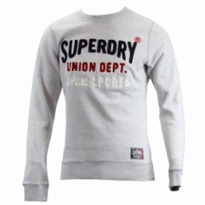 HEATHER  ファッション トップス Superdry Mens Core Applique Crew Silver Heather Marl Pull Over Sweat Shirt Sz L