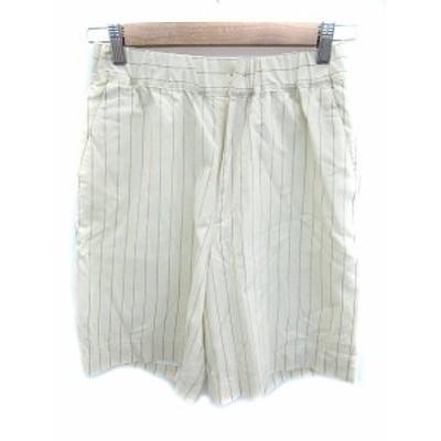 【中古】ドレステリア DRESSTERIOR パンツ ショート 短パン ストライプ柄 ウール 36 オフホワイト グレー レディース