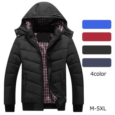 ダウンジャケット メンズ ダウンコート 中綿ジャケット アウター ブルゾン ジャケット フード付き 厚手 防寒 防風 冬新作