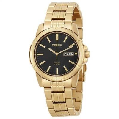 腕時計 セイコー メンズ Seiko Solar Black Dial Gold-tone Stainless Steel Men's Watch SNE100
