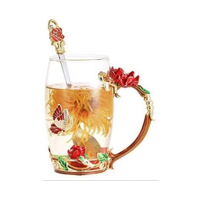 DAJAMAI Enamels Glass Mug Lead-free Glass Cup Coffee Mugs Tea Cup with Spoo