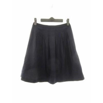 【中古】ノーリーズ Nolley's スカート フレア ひざ丈 無地 34 紺 ネイビー /CK レディース