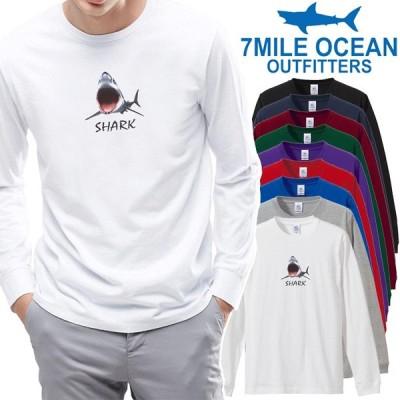 メンズ Tシャツ 長袖 ロングTシャツ ロンt プリント アメカジ 大きいサイズ 7MILE OCEAN サメ シャーク