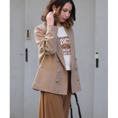 ANDJ / リネン風ダブルボタンショートジャケット WOMEN ジャケット/アウター > テーラードジャケット