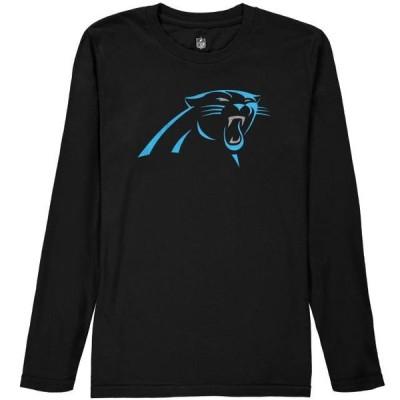 キッズ スポーツリーグ フットボール Carolina Panthers Youth Team Logo Long Sleeve T-Shirt - Black Tシャツ