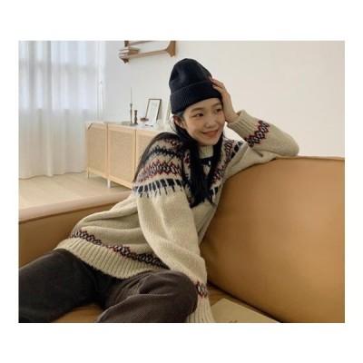 From Beginning レディース ニット/セーター Vintage Nordic Alpaca Knit