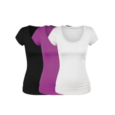 レディース 衣類 トップス Emmalise Women's Short Sleeve Tshirt Scoop Neck Tee Value Set (3Pk Blk Magenta Wht Small) Tシャツ