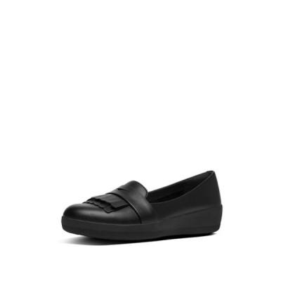 フィットフロップ レディース スニーカー シューズ Vianne Fringe Trim Sneaker Loafer ALL BLACK