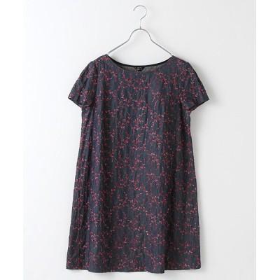 TABASA/タバサ デニムフラワー刺繍半袖チュニック アカ S