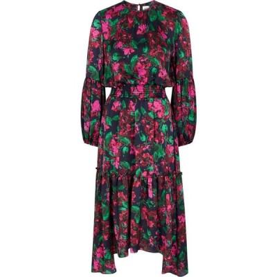 ミサ MISA レディース パーティードレス ミドル丈 ワンピース・ドレス Simone Floral-Print Satin Midi Dress Black