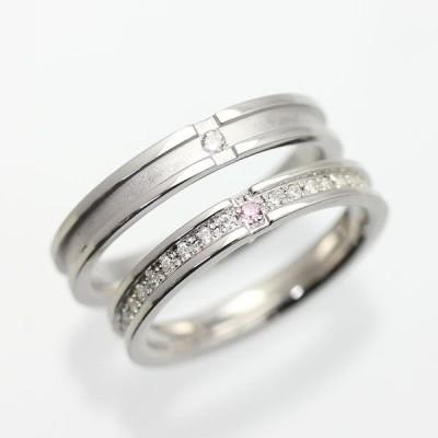 結婚指輪 ゴールド ペアリング K18WG 刻印無料 フルエタニティ ダイヤ 0.20ctUP ピンクダイヤ 0.01ct 指輪 マリッジリング