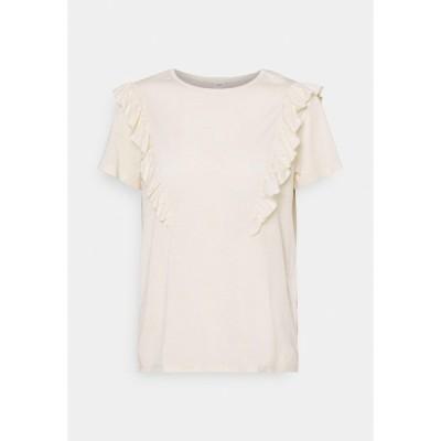 ジェイディーワイ Tシャツ レディース トップス JDYKAREN FROSTY FRILL - Print T-shirt - beige