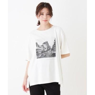 (SHOO・LA・RUE/シューラルー)ドロップショルダーグラフィックTシャツ/レディース ホワイト×フォト(103)