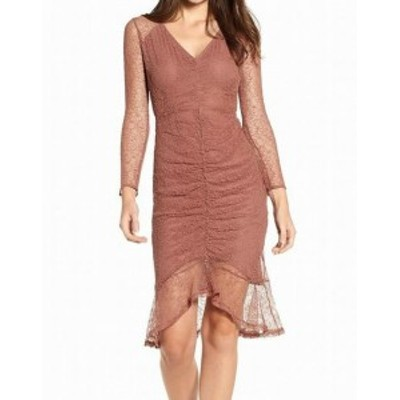 4SI3NNA フォーシースリーエンエンエイ? ファッション ドレス 4SI3NNA NEW Brown Womens Size Medium M Ruched Front Lace Shift Dress