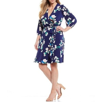 エリザジェイ レディース ワンピース トップス Plus Size Floral Print Tie Waist Dress