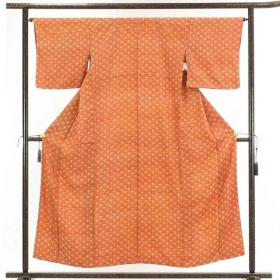 リサイクル着物 小紋 正絹茶オレンジ地花柄袷一方付小紋着物