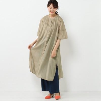 羽織にも使える◎バンドカラー半袖シャツワンピース