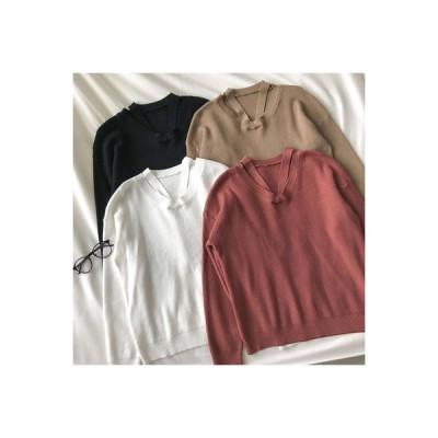 【送料無料】襟 デザイン 感 セーターの女性 秋冬 新品 韓国風 優しい 単一色 シンプル ルース | 346770_A64285-4190177