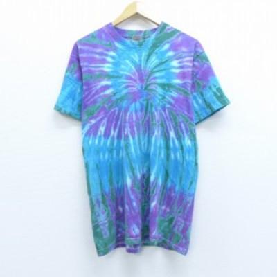 古着 半袖 ビンテージ Tシャツ 00年代 00s 無地 クルーネック 紫他 パープル タイダイ Lサイズ 中古 メンズ Tシャツ 古着