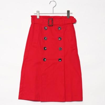 スタイルブロック STYLEBLOCK 綿ツイルベルト付きタックトレンチスカート (レッド)