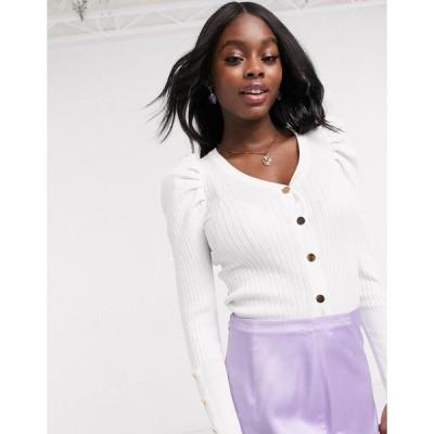 ニュールック レディース カーディガン アウター New Look puff sleeve button down cardigan in off white White