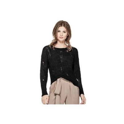 ゲス GUESS Ls Kayda Destroy Sweater (JET BLACK)
