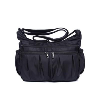 RFID Crossbody Bags for Women Lightweight Nylon Shoulder Bag Water Resistant Travel Purses Multi Pocket Work Bag(Black-Large-RFID BLOCKING)