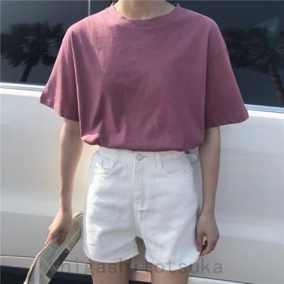 レディース半袖Tシャツラウンドネック無地TシンプルTシャツ