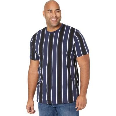 ジョニー ビッグ Johnny Bigg メンズ Tシャツ 大きいサイズ ロング トップス Big & Tall Vertical Stripe Longline Tee Navy