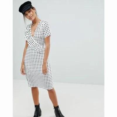 ミスガイデッド ワンピース Polka Dot Midi Dress White