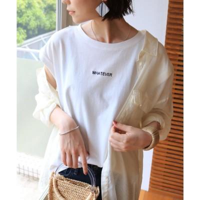 アンドミー and Me WHATEVERロゴ刺繍フレンチスリーブTシャツ (オフホワイト)
